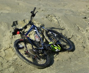 Bike on beach, West Wittering, October 2008